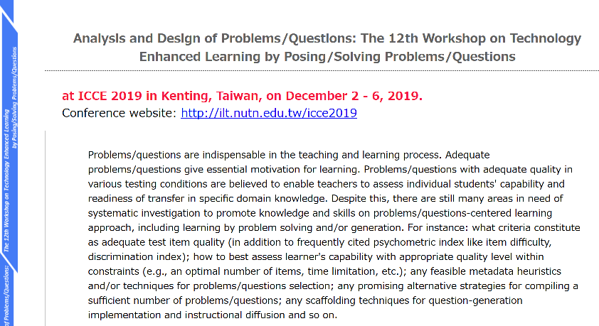 Analysis and Design of Problems/Questions: The 12th Workshop on Technology Enhanced Learning by Posing/Solving Problems/Questions
